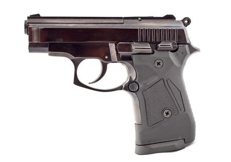 gun control: Gun on white background. Isolated Stock Photo