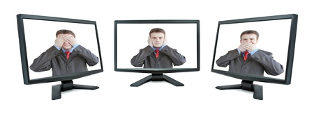 Three modern monitor isolated on white with man on screen (my photo) photo