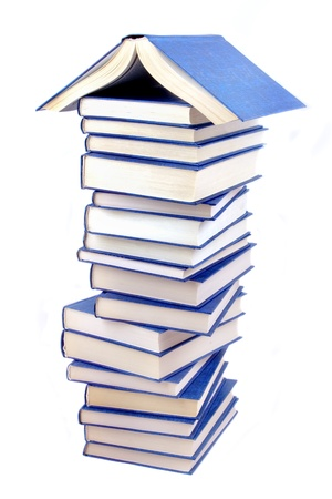 Book house on white background photo