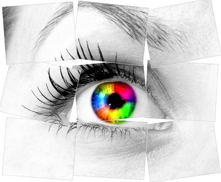 eyes looking up: colourful human eye Stock Photo