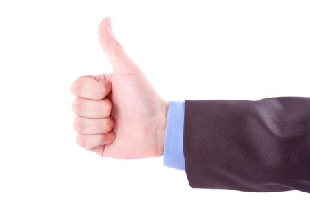 Thumbs up hand sign isolated on white background Stock Photo - 9701022