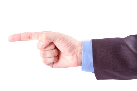 Businessman index finger is giving a direction isolated on white Stock Photo - 9700988