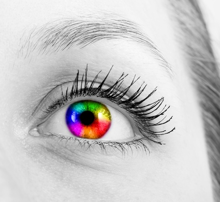 eye red: colourful human eye Stock Photo