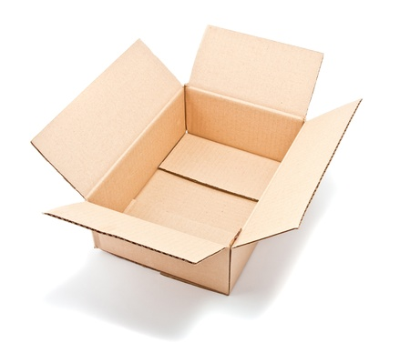 open corrugated cardboard box on white background Stock Photo - 9698378