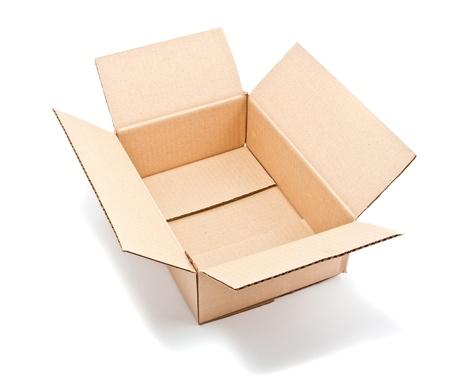open corrugated cardboard box on white background Stock Photo - 9698617