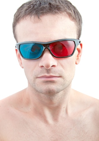 stereoscope: Man  in 3D glasses Stock Photo