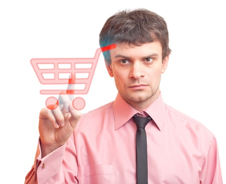 Man pressing shopping cart icon Stock Photo - 9741606