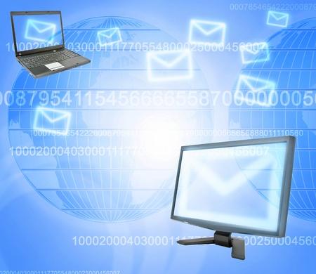correspondencia: Correspondencia de correo electr�nico, laptop y monitor