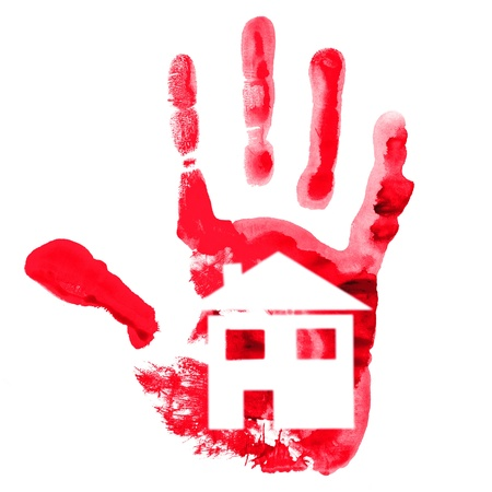 buld: Handprint and house on white. Isolated