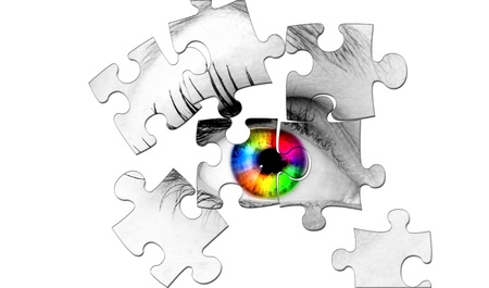 abstract human coloured eye from puzzle photo