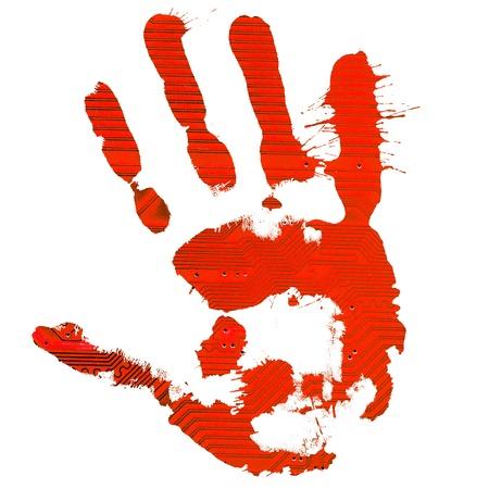 Technological red splatter handprint on white background photo