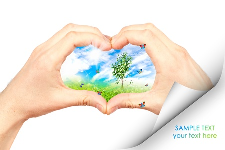 Human hand and nature. Symbol of the environment. Collage. Stock Photo - 9700908