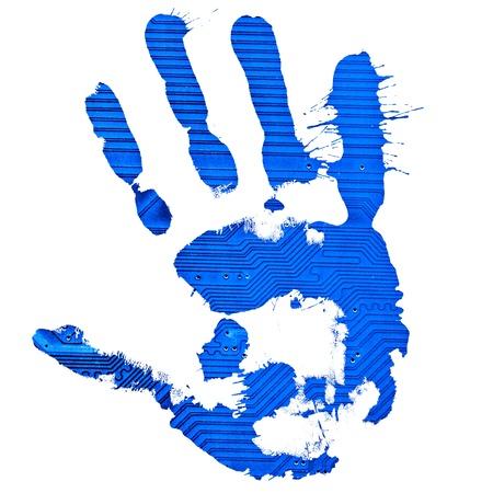 Technological blue splatter handprint on white background photo