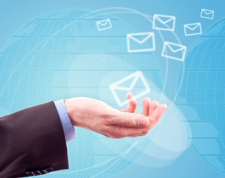 hands with world mail delivery on map background photo
