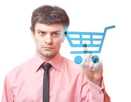 Man pressing shopping cart icon. Stock Photo - 9741605