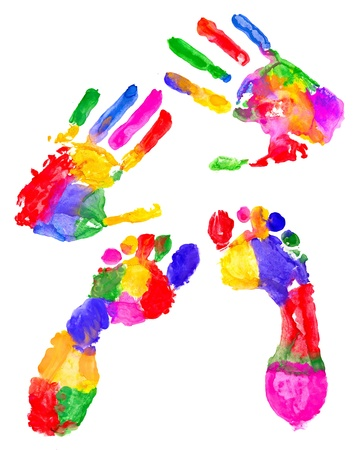 Two colored handprint and two colored footprint on white Stock Photo - 9698506