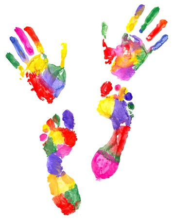 two colored handprint and two colored footprint photo