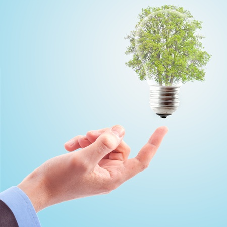 Hand with lamp and tree. The concept of renewable energy photo