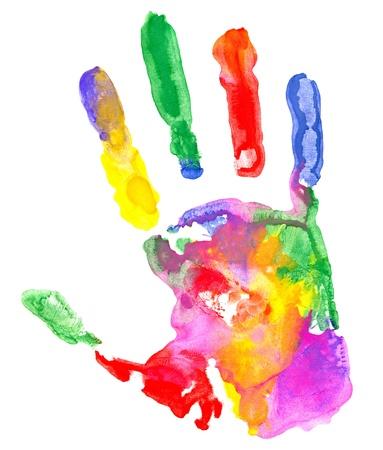 hand schilderen: Close up van gekleurde hand afdrukken op witte achtergrond.