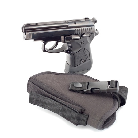 The automatic pistol stand about holster black color. Stock Photo - 9701896