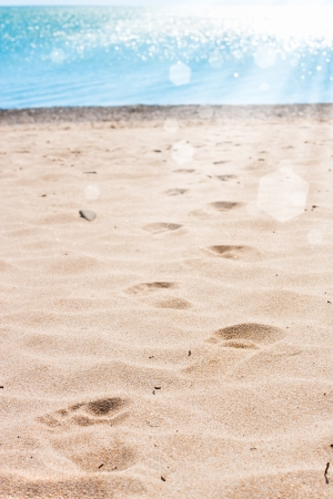 Footprints in the sand on a beach in the summer photo