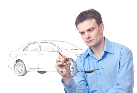 car pattern: Men drawing a car isolated on white background Stock Photo