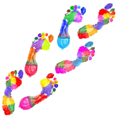 fingermark: Multi Colored footprints on white background Stock Photo