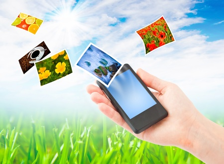 Mobile phone and hand. Communication concept.  Collage Stock Photo - 9701235
