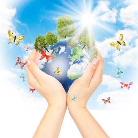 ecosistema: Manos y la tierra. Concepto guardar verde planeta. S�mbolo de protecci�n del medio ambiente. Foto de archivo