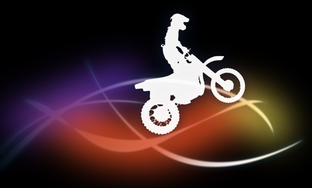 Silhouette of a man on a motorcycle on a dark background on the multicolored lines on a dark background on the multicolored lines photo