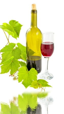 Wine Glass and Bottle on white Stock Photo - 9701428