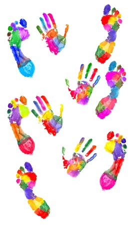 thumb print: Colored handprint and colored footprint on white Stock Photo