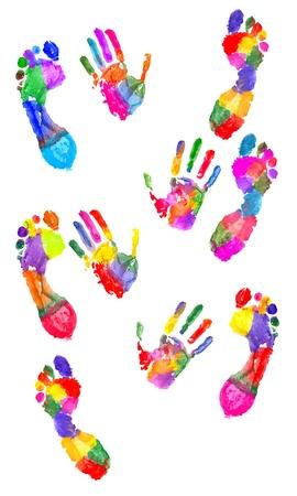 foot step: Handprint colorate e colorato impronta sul bianco
