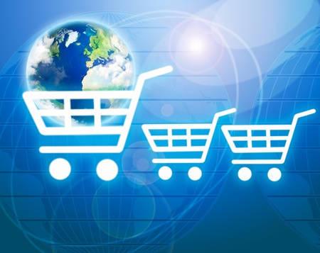Shopping basket with earth as a symbol of internet commerce