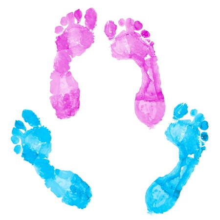 Two pairs of footprints - women's and men's Stock Photo - 9698435