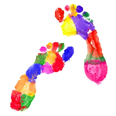 authenticate: Multi Colored footprints on white background Stock Photo