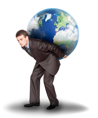 Businessman with the earth on his back. Isolated on white background photo
