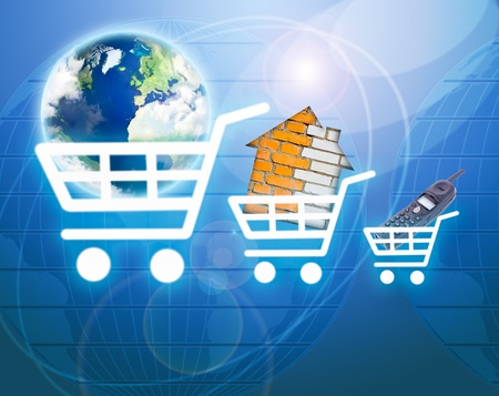 Shopping basket with earth, house, phone as a symbol of internet commerce Stock Photo - 9837141