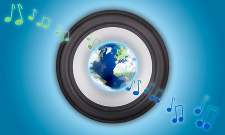 Music speaker with a globe in the center. Symbol of global music photo