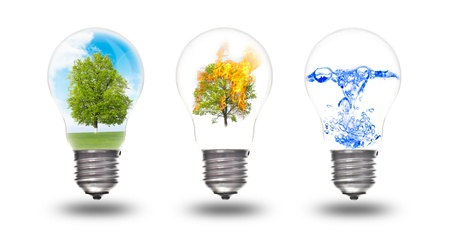 conserve: Light bulb with three elements inside: nature, fire and water. The concept of renewable energy