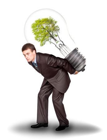 the responsibility: Businessman with eco lamp on back. Isolated on white background