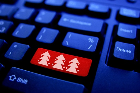 stock photos: Computer keyboard with Christmas tree key