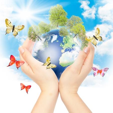 contaminacion ambiental: Las manos y la Tierra. Concepto de salvar el planeta verde. S�mbolo de la protecci�n del medio ambiente. Foto de archivo