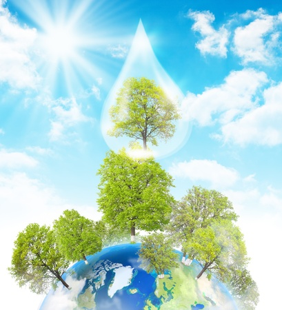 Green Earth. Symbol of environmental protection. Collage