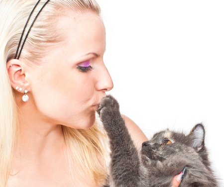 women kissing: Beautiful young woman hugging and kissing cat