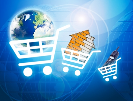 Shopping basket with earth, house, phone as a symbol of internet commerce
