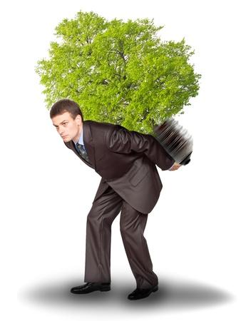 Businessman with eco lamp on back. Isolated on white background photo