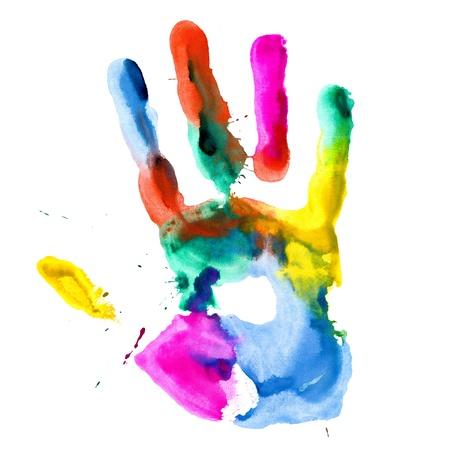 Close up van gekleurde hand afdrukken op witte achtergrond.