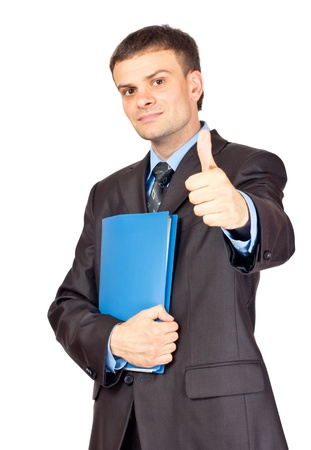 Young Businessmen making his thumb up saying OK and with folder in other hand. Isolated on white. Stock Photo - 10432840