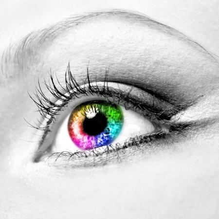 눈알: 아름다운 다채로운 인간의 눈의 근접
